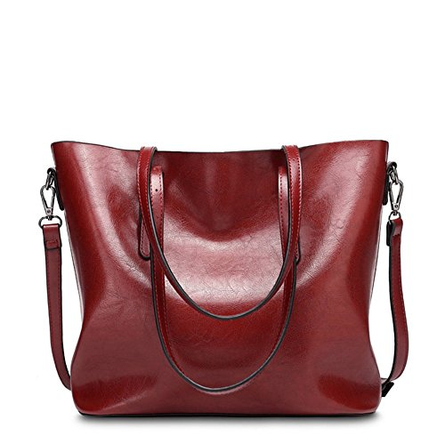VANCOO Donne Tote Borse Donna Borse in Pelle Tote Bag Faux 1108 (rosso)