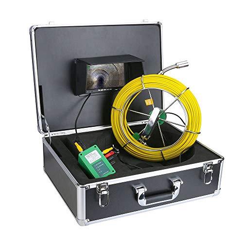 ENNIO Rohr-Inspektions-Videokamera, 20 m, IP68 wasserdicht, Abflussrohr, Kanalisation, Inspektionskamera-System, 17,8 cm (7 Zoll), LCD 1000 TVL Kamera mit 6 W LED-Leuchten
