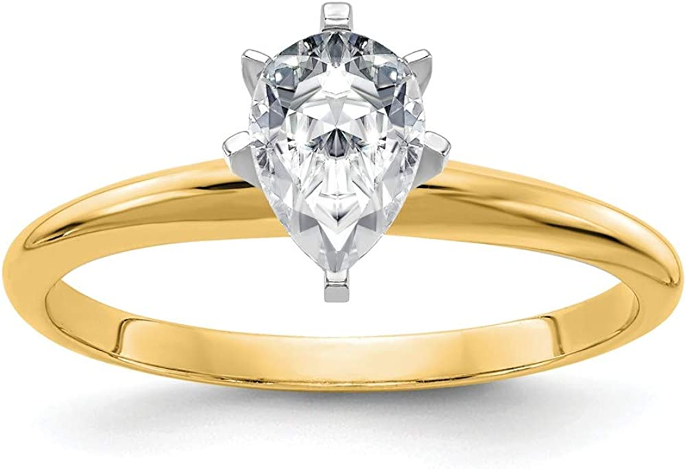 14k Yellow Gold 2ct. G H I True Pear Moissanite Solitaire Band Ring Size 7.00 Engagement Gsh Gshx Fine Jewelry For Women Gifts For Her