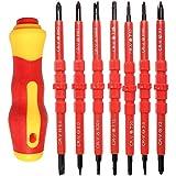 7 Piezas Destornillador Aislado, Destornilladores para Electricista, Destornillador, 14 en 1 Acero Cromo Vanadio Destornillador Intercambiable con Mango Suave para Reparación Electricista (Rojo)