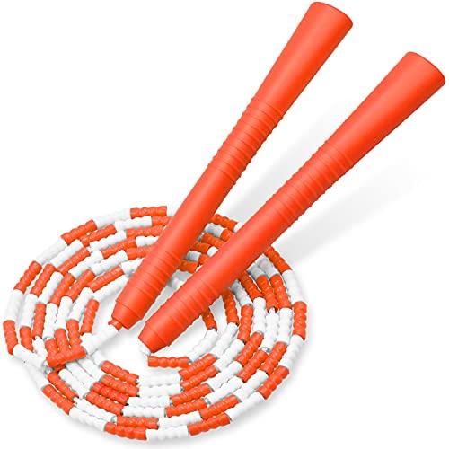 縄跳び 小学生 ビーズロープ なわとび 子供 初心者向け 幼児 ジュニア 学校用 長さ調整可能 (オレンジ)