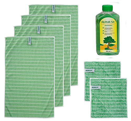 Alpha S4® Original DAS GRÜNE WUNDER® Bambus 7teilig, 4 Trocken- + 2 Vorreinigungstücher + 1 Alpha S4® Scheiben- u. Spiegelreiniger das Original von QVC