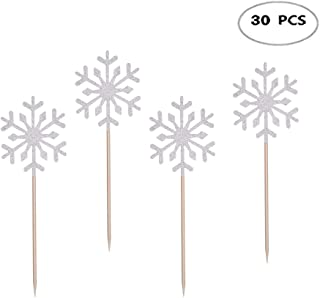 30Pcs Snowflake Cake Toppers Snowflake Cupcake Toppers Picks for Kids Birthday Party Christmas Themed Party Baby Shower Wedding Cake Decoration,Silver
