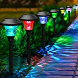 BEAU JARDIN 8 Pack Solar Lights with 7 Color Changing Pathway Outdoor Garden Stake Glass...