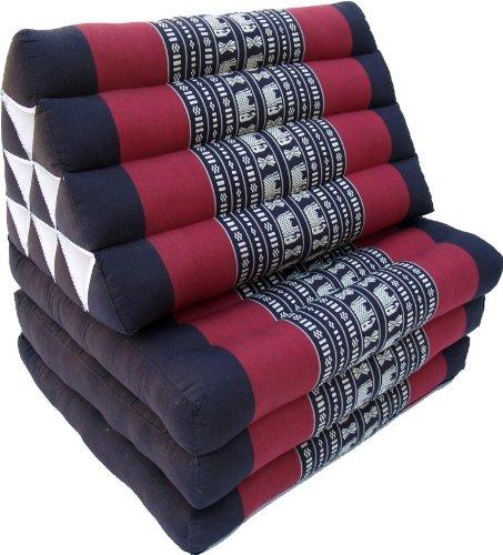 Guru-Shop Almohada Tailandesa, Almohada Triangular, Kapok, Cama de día con 3 Fundas - Negro/rojo, 30x50x160 cm, Cojín Tailandés/3 Almohadillas