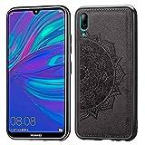 ZDCASE Funda para Huawei Y7 Pro (2019), Mandala Patrón Tela + TPU Suave Parachoque Built-in Magnético Parche A Prueba de Choques Protectora Funda para Huawei Y7 Pro (2019) / Enjoy 9 - Negro