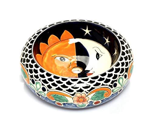 Artemisa – Lavabo redondo México Mexicano – 40 cm cerámica Talavera lavabo de México – Multicolor Decoración Decorativa – Ideal baño con azulejos de madera, azulejos de cemento, rústico