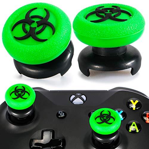 Playrealm FPS Thumbstick Grip Copri Levette Analogiche e Estensore Texture 3D Gomma da Cancellare Silicone Presa Copertina 2 Set per Xbox One (Bioh Green)