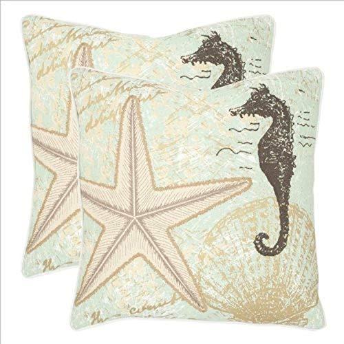 Safavieh Pillows Collection Lauren Decorative Pillow, 22-Inch, Sea Foam Green, Set of 2