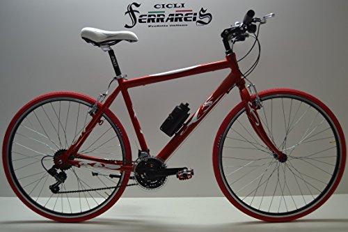Cicli Ferrareis Bici Corsa Bicicletta da Corsa Bicicletta Uomo Ibrida 21v Rossa