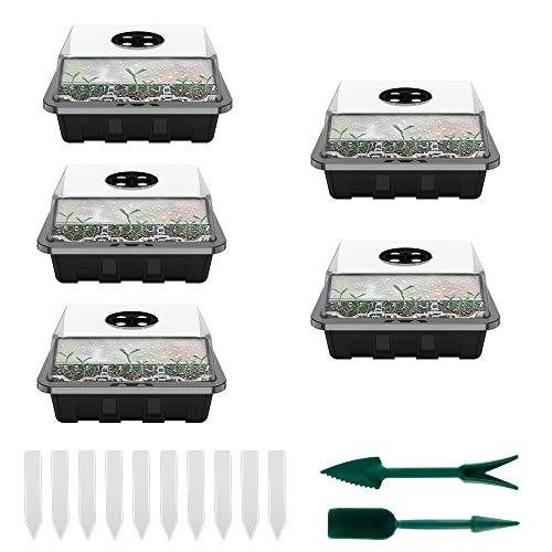 5PCS Mini Gewächshaus, Zimmergewächshaus, Sämling Samen Kasten, Einstellbare Entlüftung, Anzuchtschale mit 12 Pflanzlöchern und Deckel, Kunststoff Pflanzkasten-System (Schwarz mit Werkzeug)