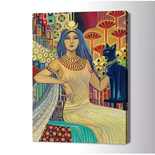 NFGGRF Impresión de Lienzo de Diosa egipcia, Pintura artística para Pared, Imagen artística, póster artístico para Sala de Estar, decoración del hogar, 50x70cm sin Marco