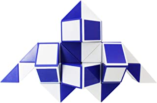 Mipartebo Magic Snake Cube Twist Puzzles 48 Wedges Brain Teaser Toys White and Blue