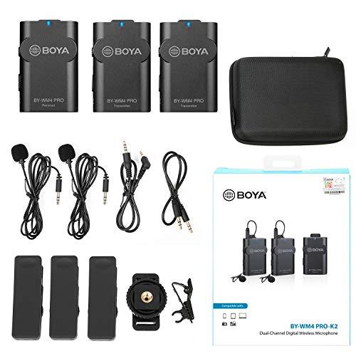 BOYA BY-WM4 PRO TX+TX+RX - Micrófono inalámbrico compacto de 2,4 GHz de solapa (Lavalier) para cámara DSLR, smartphones, tabletas, PC