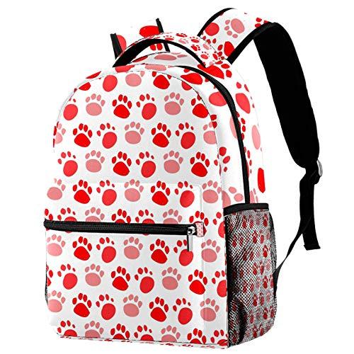 Mochila de viaje con patas rojas para perros, mochila de escuela, mochila informal para mujeres, adolescentes, niñas y niños