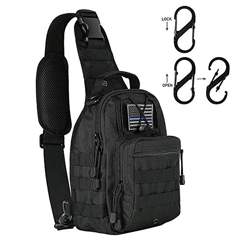 KAMI 900D Tactical Sling Bag Pack Military Rover Shoulder Sling Backpack Molle Assault Range Bag Everyday Carry Bag Day Pack with Tactical USA Flag Patch & New Type Tactical D Ring