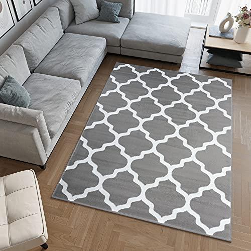 TAPISO Collection Luxury Tapis de Salon Chambre Moderne Couleur Gris Blanc Motif Géométrique Facile d
