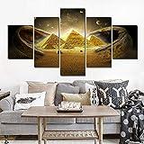 Arte de Pared 5 Piezas Pirámides egipcias Cuadros de Pared para Sala de Estar Carteles e Impresiones Vintage Pintura sobre Lienzo Decoración para el hogarYA5A