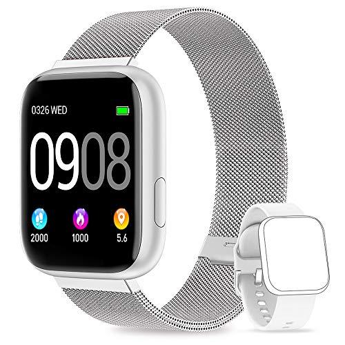 BANLVS Smartwatch Reloj Inteligente IP67 con Correa Reemplazable Pulsómetro, Monitor de Sueño, Presión Arterial,1.4 Inch Pantalla Táctil Completa Reloj Inteligente para Mujer Hombre