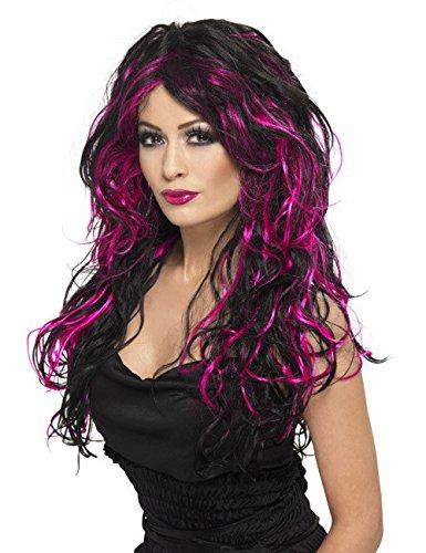 Mariée gothique Halloween perruque noir/rose