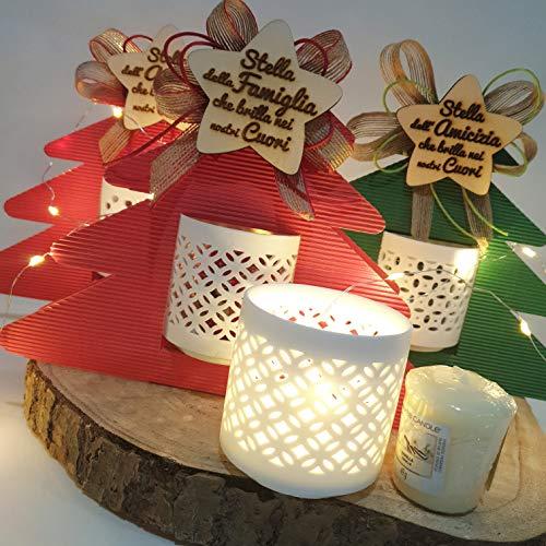 Sindy Bomboniere Candele profumate Regali Natale Confezione con portacandele e votivo (Stella Famiglia)