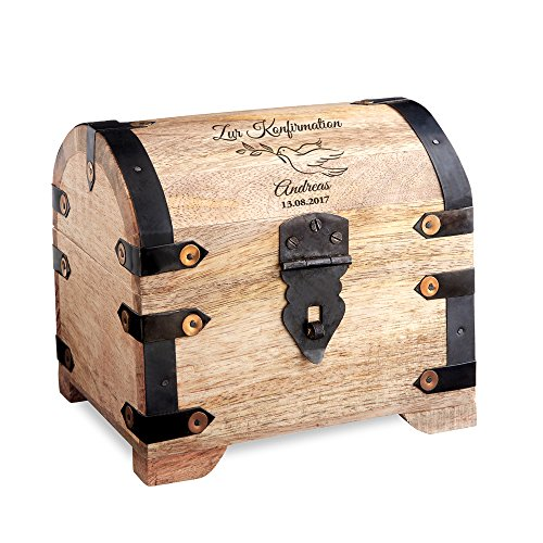 Casa Vivente Geldschatztruhe mit Gravur – Zur Konfirmation – Motiv Taube – Personalisiert mit Namen und Datum – Helles Holz – Verpackung für Geldgeschenke – Geschenkidee für Konfirmanden