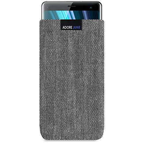 Adore June Business Tasche passend für Sony Xperia XZ3 Handytasche aus charakteristischem Fischgrat Stoff - Grau/Schwarz | Schutztasche Zubehör mit Bildschirm Reinigungs-Effekt | Made in Europe