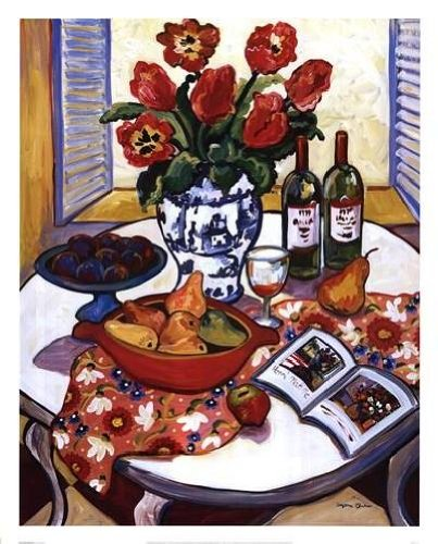 Suzanne Etienne - Blue Platter With Plums Art Print NO LONGER IN PRINT - LAST ONE!!