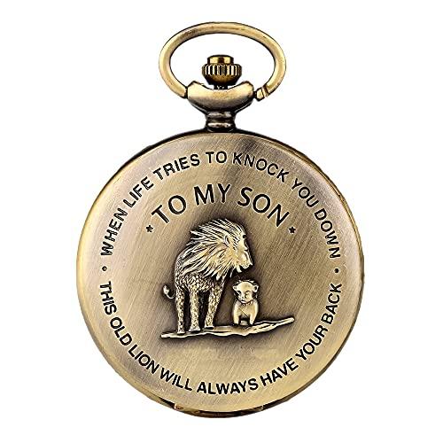 'to My Son' Lion Engraved Bronze Roman Dial Quartz Pocket Watch