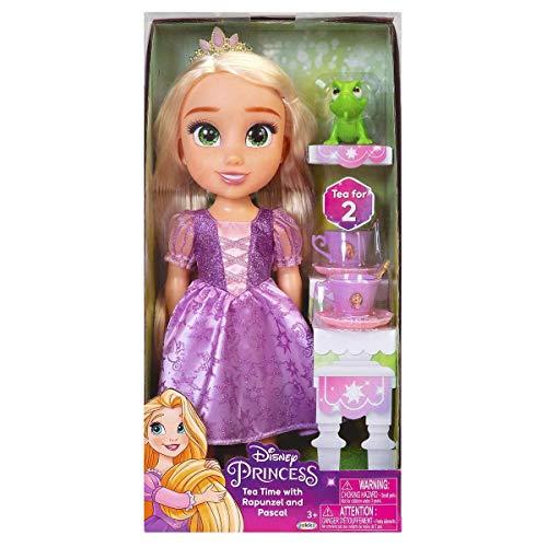 Jakks Pacific Disney Princesa Rapunzel Nuovo modello Occhi Brillanti 35 cm e Set da tè con Pascale