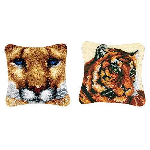 SDENSHI 2 Juegos de Alfombras Tigers Latch Hook Kits para Niños con Herramientas Básicas para Cojín
