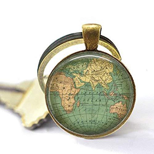Weltkarte Anhänger, Vintage-Weltkarte, alte Weltkarte, Weltkarte, Weltkugel, Geschenk-Schlüsselanhänger