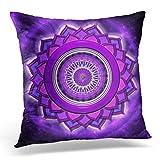 Topyee Funda de cojín Reiki Chakra Sahasrara Mandala Aura Buddhistisch Chi Crown Faith 45 x 45 cm/18 x 18 Pulgadas Home Decor Throw Pillow Cover Square Funda de Almohada para Cama sofá