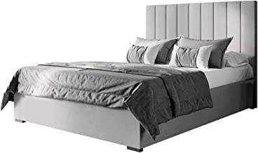 Velvet Fabric Upholstered Bed Frame Bed Base Double Bedroom Furniture (Slate, Queen)