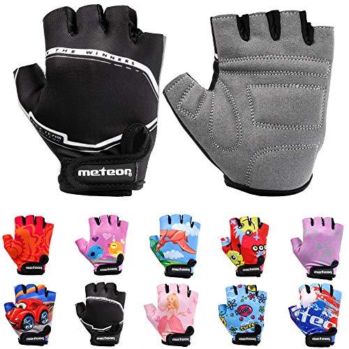 Meteor Unisex Kinder Fahrradhandschuhe Bike - Gel BMX Handschuhe, RACING, Gr.-Jr M/ Handweite- 7-7.5cm
