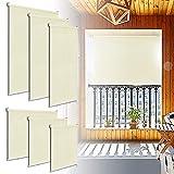 LZQ, tenda da sole verticale per balcone, terrazza, resistente ai raggi UV, protezione dal vento, frangivista, 180 x 140 cm, beige
