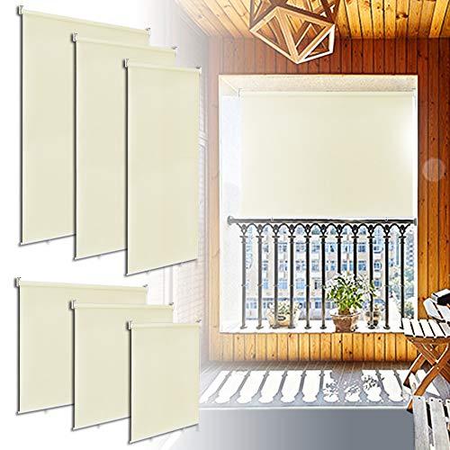 LZQ Senkrechtmarkise Balkonmarkise Sonnenschutz, UV-beständige Vertikalmarkise, Windschut und Sichtschutz, vertikal Sonnensegel für Balkon Terrasse, 180 x 140 cm, Beige