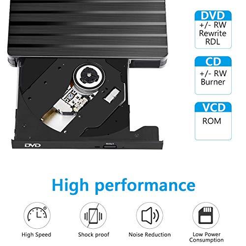 Externes CD DVD Laufwerk, BEVA USB 3.0 mit Type-C DVD/CD Brenner und -Lesegerät Tragabar Externe DVD/CD Superdrive Plug&Play/für Laptop, Desktop, MacBook, Ios, Windows 10/8/7/XP und Linux