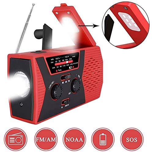 Urgence Radio Solaire Manivelle Radio, 2000Mah avec Lampe De Poche LED Lampe De Lecture, SOS Alarme pour La Maison Et d'urgence,Vert