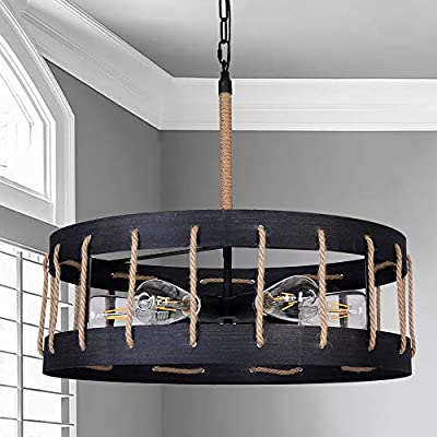 ANTILISHA Farmhouse Industrial Chandelier Lighting Round Drum Rope Light Fixture Pendant Chandelier for Bedroom Dining Room Foyer Entryway Metal Iron Silver Rubbed Matt Black Dia 21.7 inch