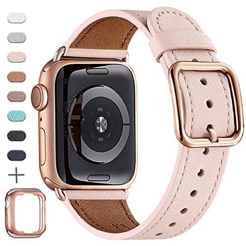 MNBVCXZ Armband, kompatibel mit Apple-Uhrenarmband, 38 mm, 40 mm, 42 mm, 44 mm, hochwertiges genarbtes Leder, mehrfarbiges Ersatzarmband für iWatch Serie 5/4/3/2/1, einzigartiges Design Edition