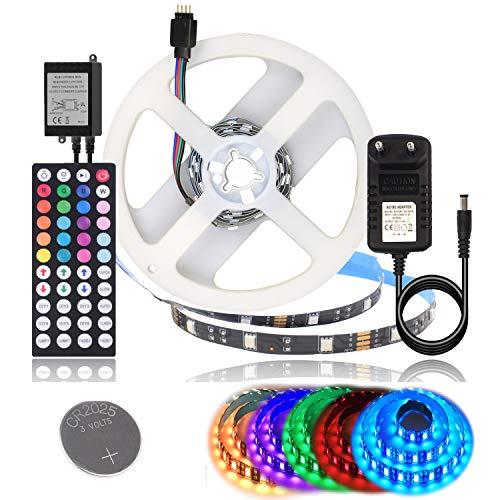 BIHRTC 5050 SMD 1M 3.28ft RGB 30 LED Streifen Set Kit Strip Licht Lichtband Lichtstreifen Nicht Wasserdicht IP20 Flexibles in Schwarz PCB mit 44 Tasten Fernbedienung + EU Plug DC 12V Netzteil