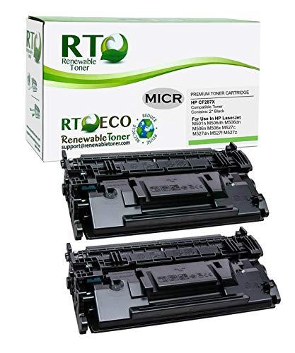 Renewable Toner Compatible MICR Toner Cartridge High Yield Replacement for HP 87X 287X CF287X Laserjet Enterprise M506 MFP M527 (2-Pack)