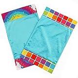 One Grace Place Terrific Tie Dye Burp Cloth, Aqua Blue, Royal Blue, Purple, Yellow, Green, Orange, Pink, Red and White