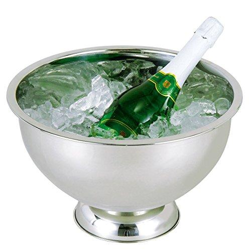 axentia Sektkühler in Silber aus rostfreiem Edelstahl, Behälter zum Kühlen von Wein, Sekt oder Champagner, hochwertig verarbeiteter Eiskübel, Maße: ca. Ø 34  x H 20,5 cm