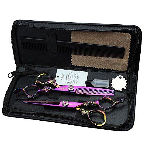5.5 pulgadas de peluquería profesional tijeras 440C acero inoxidable de alta dureza peluquería salón de pelo de corte de pelo tijera kit