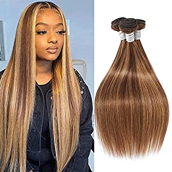 Ombre Human Hair 3 Bundles Straight Wave Two Tone F4/27 Brazilian Human Hair Bundles 100% Unprocessed Virgin Remy Hair Bundle Double Machine Weft Light Brown To Blonde Human Hair Weave(20 22 24 Inch)