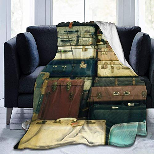 A Lot Of Old Vintage Suitcases Microfiber All Season Warm Blanket Throw Blanket For Living Room/Bedroom/Sofa Couch
