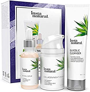 Youth Restoring Night Holiday Bundle - Glycolic Cleanser, Retinol Serum, Collagen Night Cream - Anti Aging Skin Care Kit Reduce Wrinkles, Fine Lines, Dark Spots & Hyperpigmentation - InstaNatural