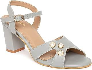 ESTATOS Synthetic Leather Open Toe Block Heeled Grey Sandals